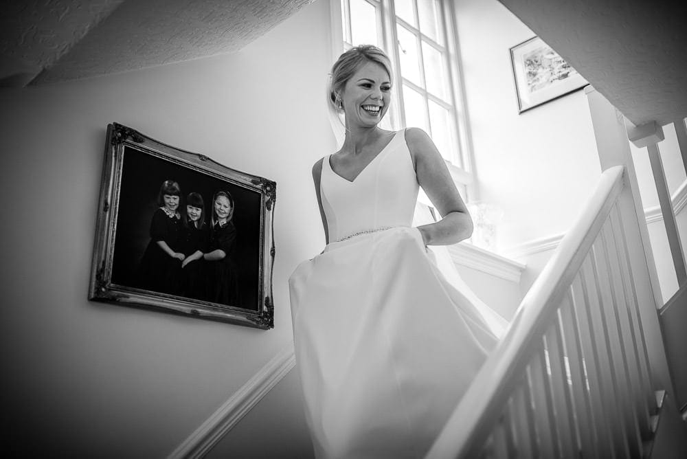 bride wlaking down the stairs