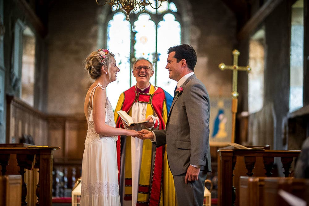 exchange of vows at a wedding in wetherby