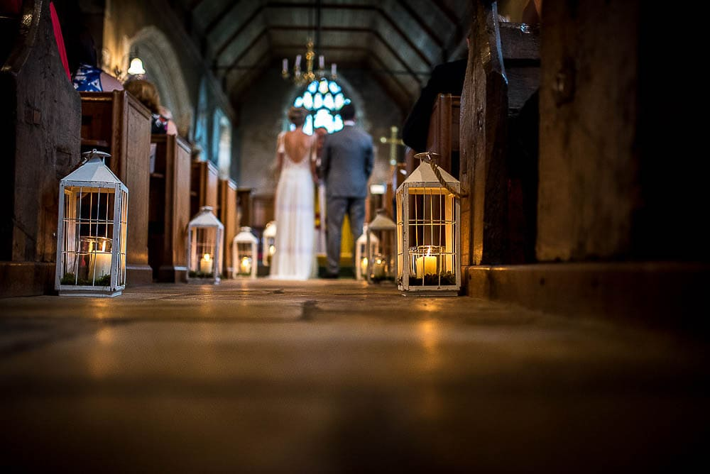 low angle of wedding in church