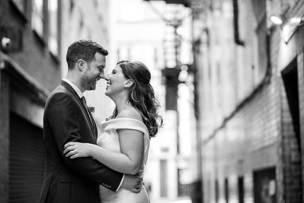 black and white photo in manchester city centre wedding