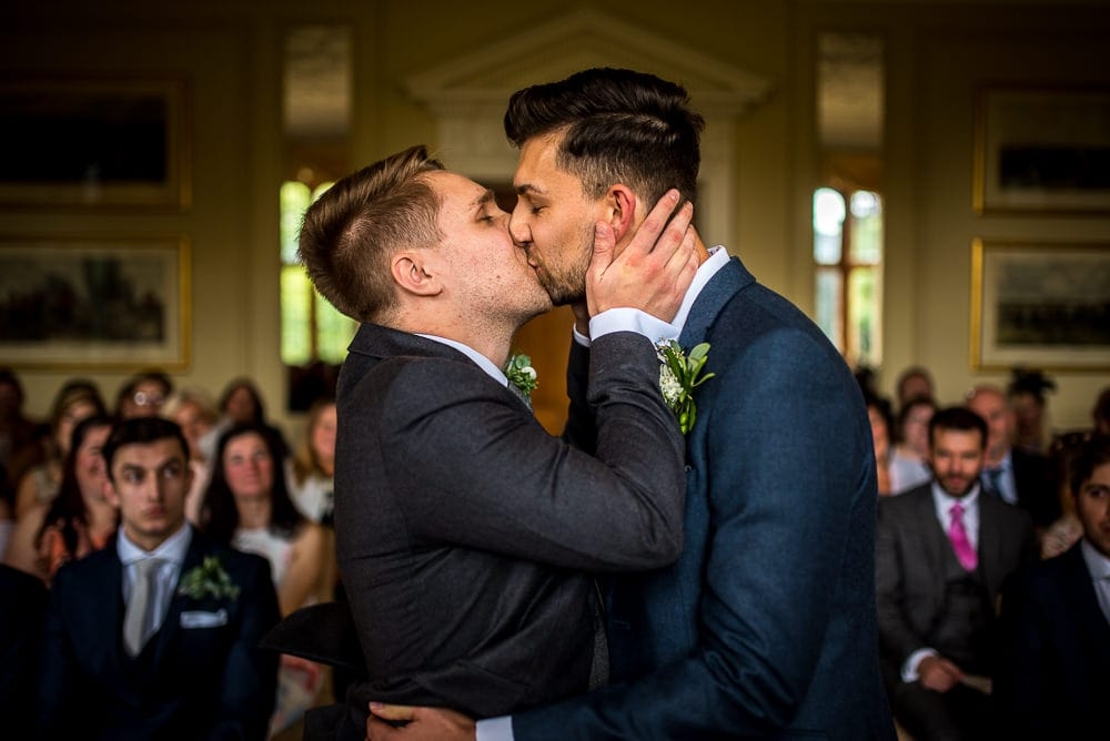 first kiss at rushton hall wedding