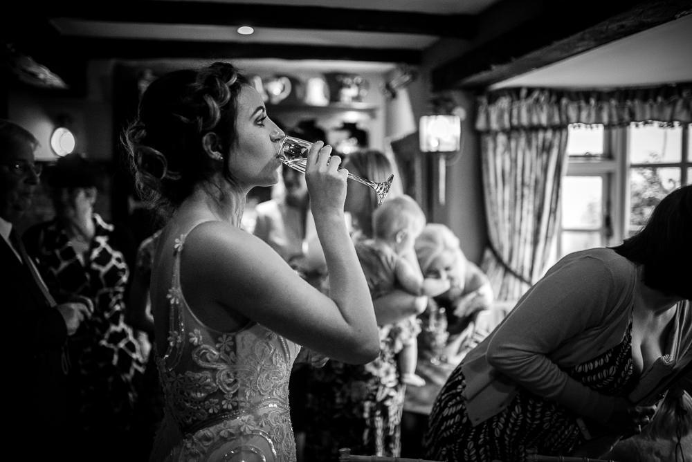 bride having a drink