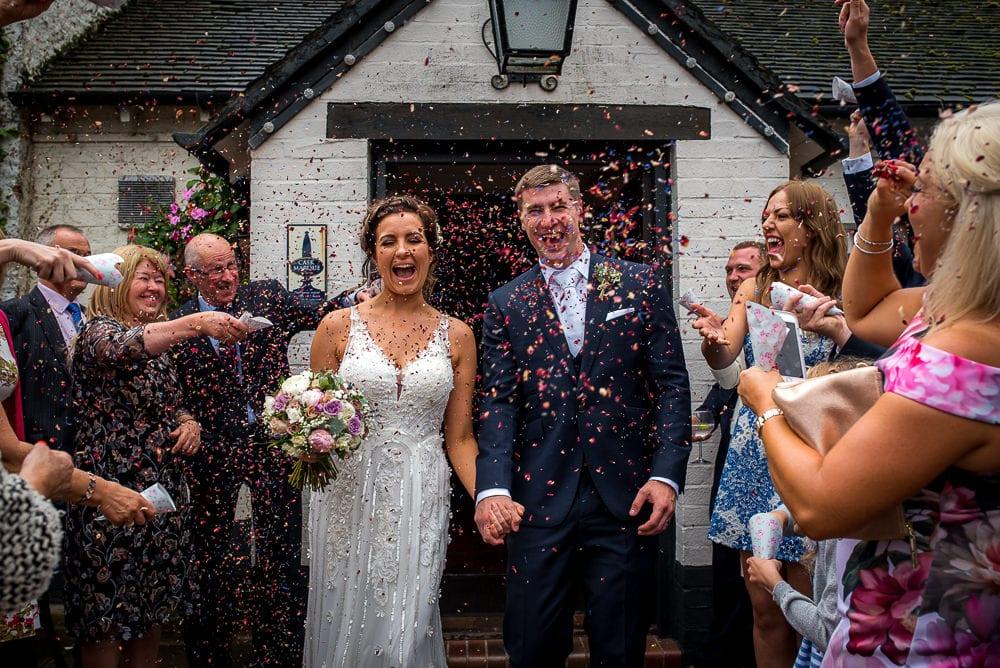 confetti photo at swettenham arms wedding