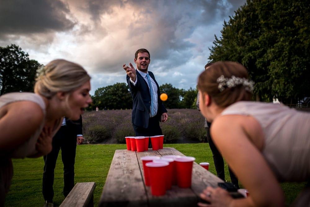 beer pong defending
