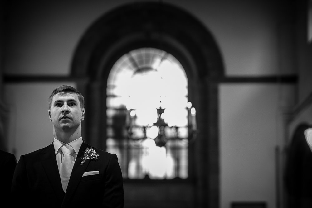 nervous groom at church