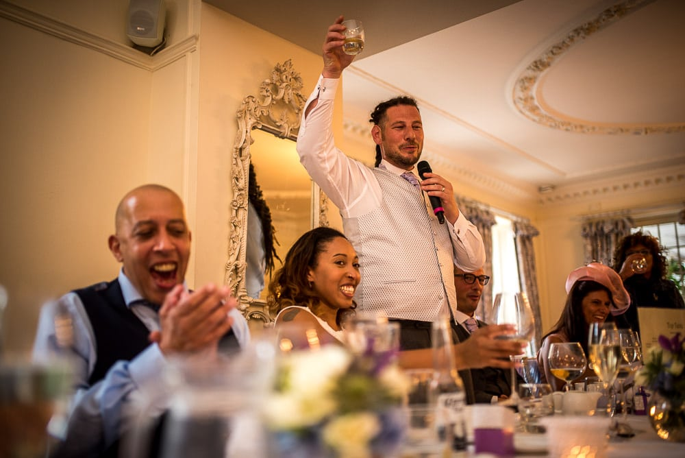 groom toasting his wife
