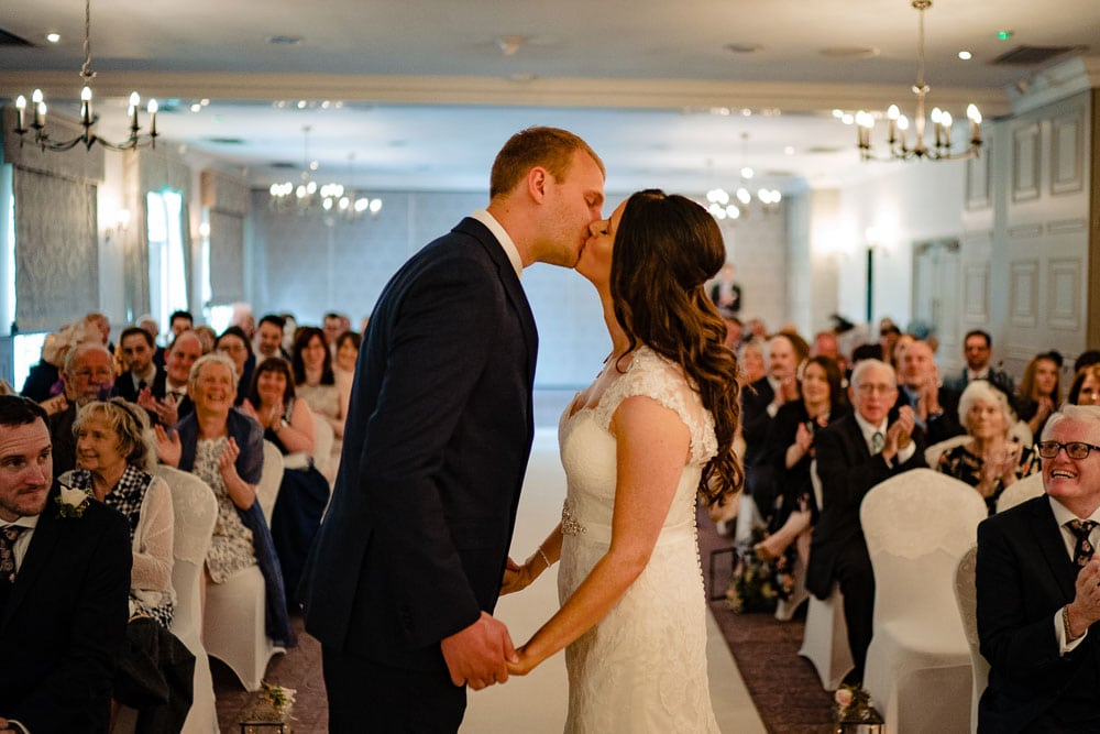first kiss at wedding at mottram hall