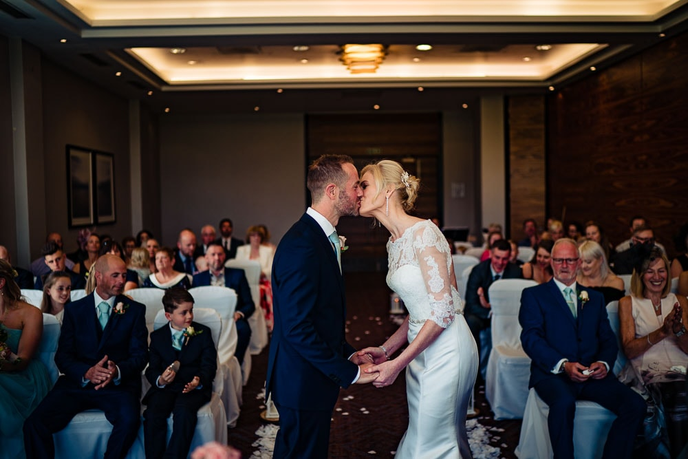first kiss at wedding at rookery hall