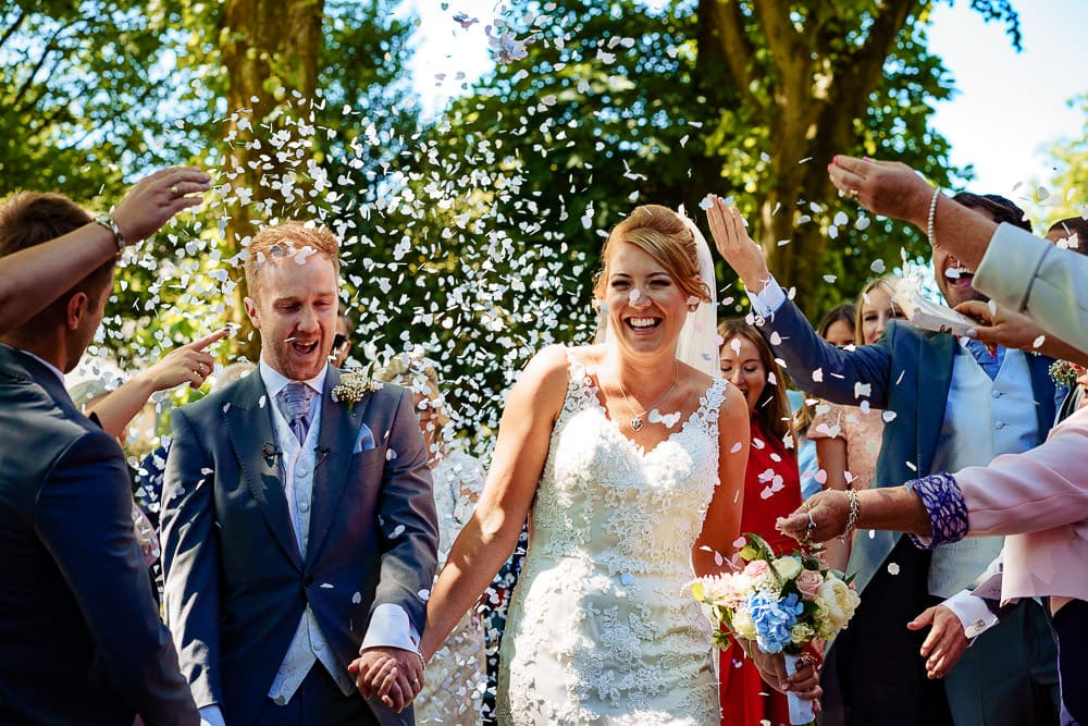 confetti at crowhill wedding