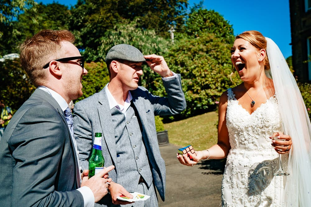 wedding magician with bride and groom