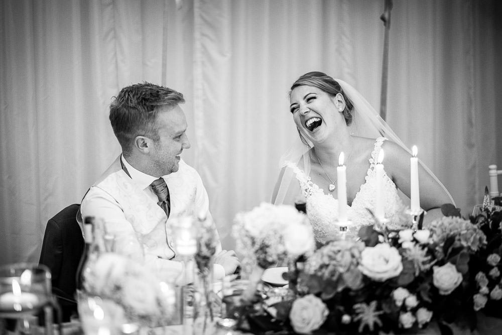 bride laughing at joke