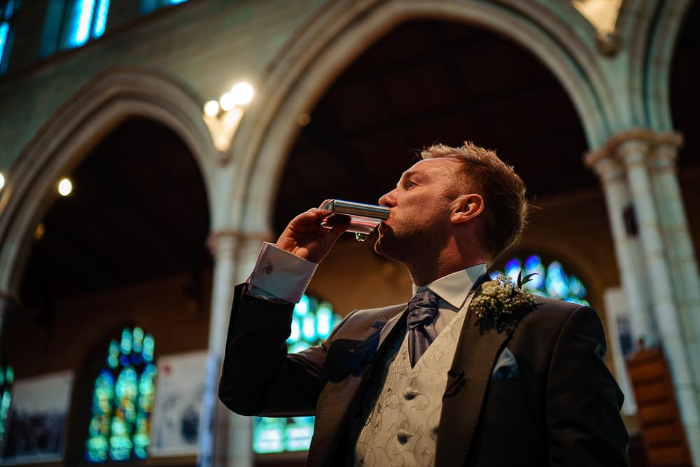 groom having a shot