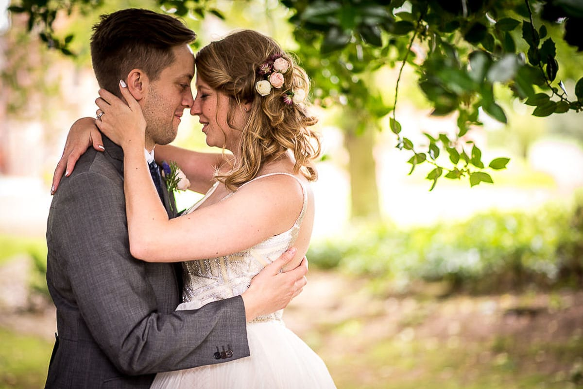 romantic wedding couple in japanese garden at colshaw hall