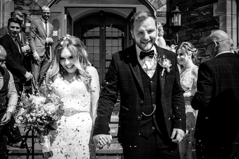 happy wedding couple at cragwood country house