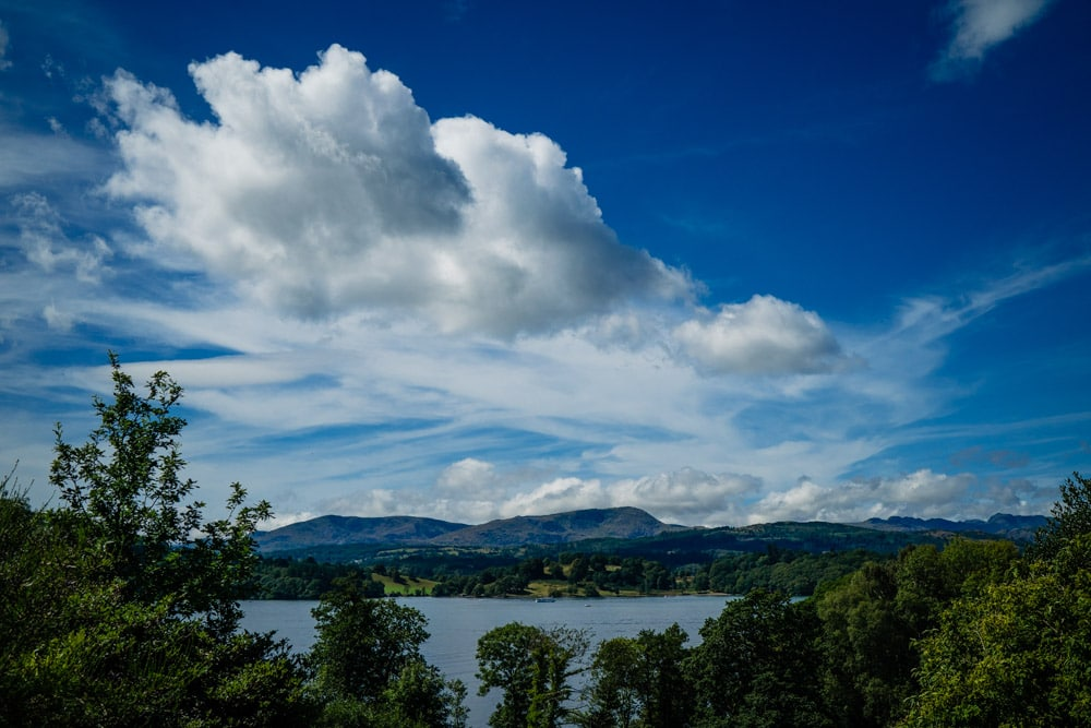 wide angle of lake windermere