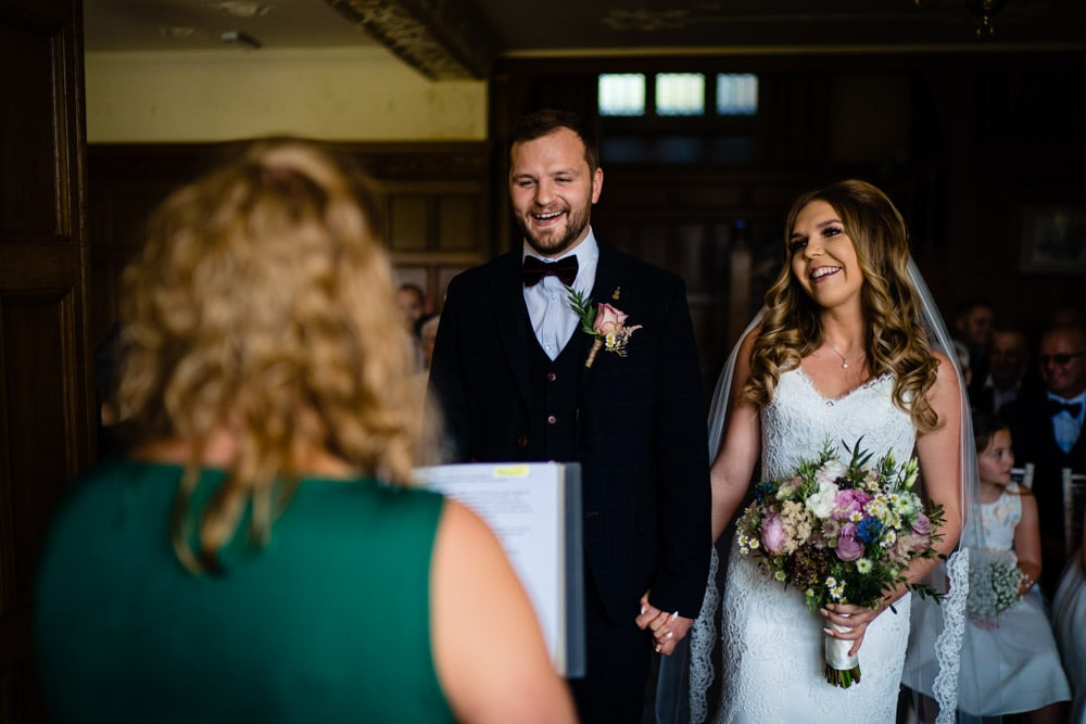 happy bride and groom at cragwood wedding
