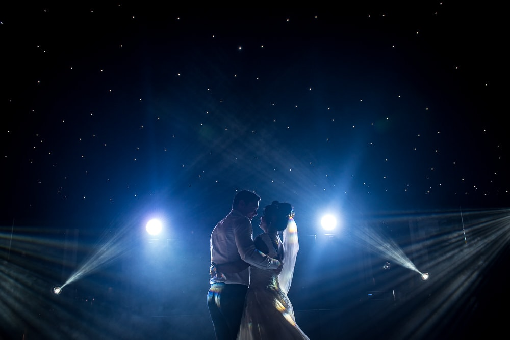 wide angle of first dance at hillbark hotel wedding