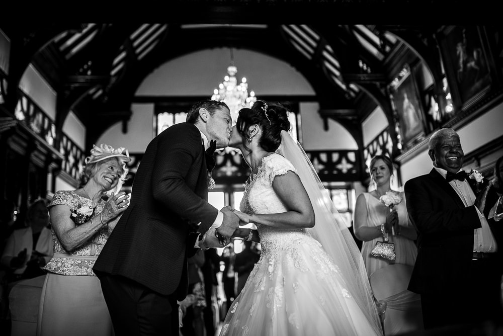 first kiss at hillbark hotel wedding