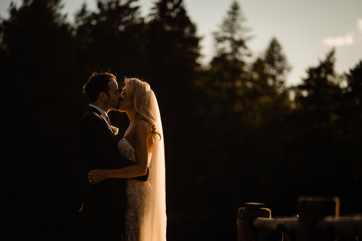 sunset wedding photo at gilpin lake house