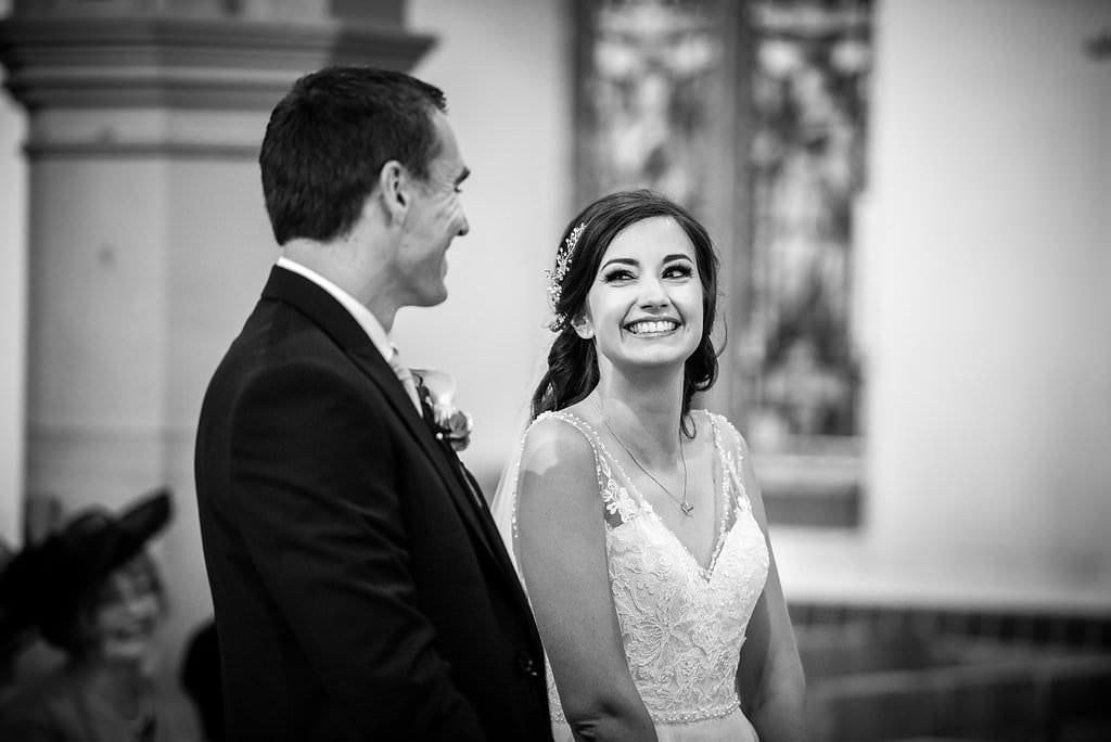 happy bride at her wedding