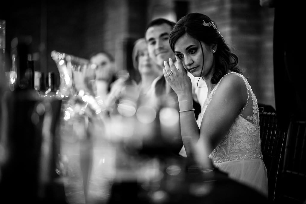emotional bride at victoria warehouse