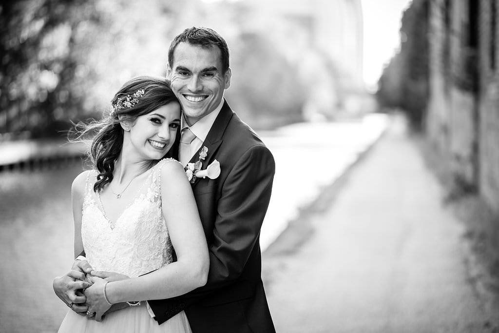 black and white photo of happy couple at victoria warehouse