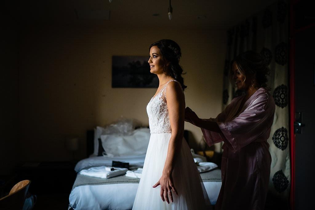 bride in her wedding dress at victoria baths