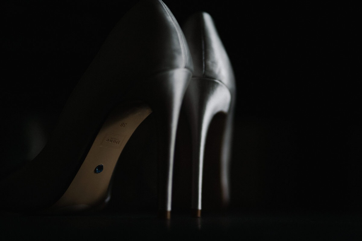 bridal shoes in natural light