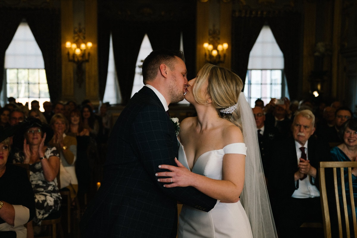 first kiss at knowsley hall wedding