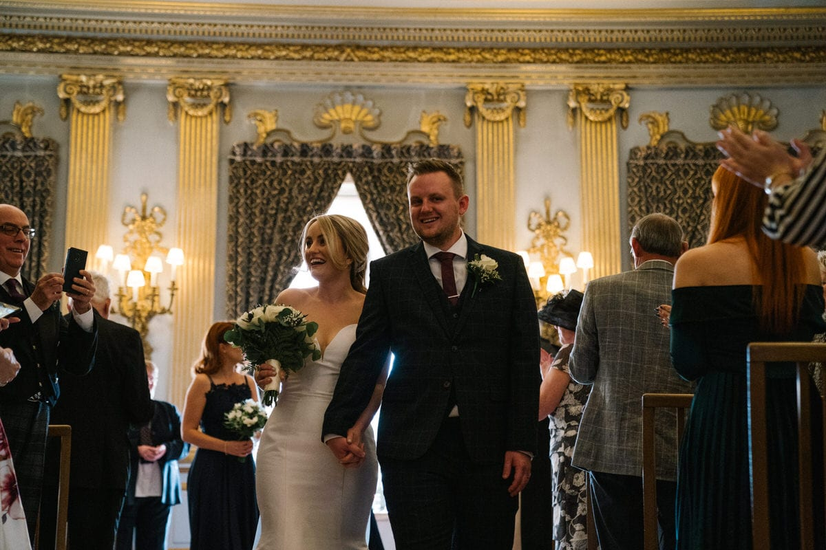 happy bride and groom at knowsley hall