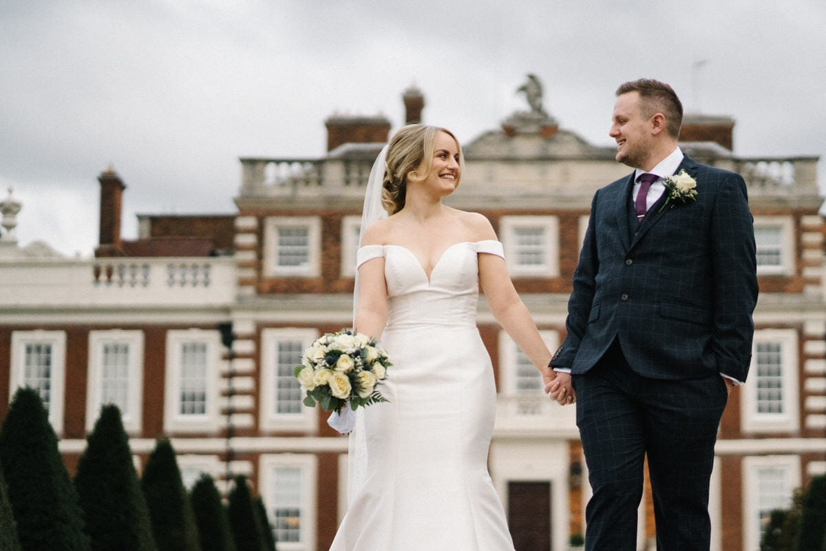 wedding couple outside knowsley hall