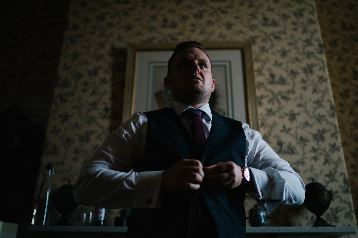 groom getting ready at knowsley hall