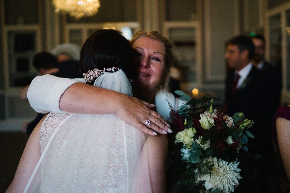hugs at Manchester hall wedding