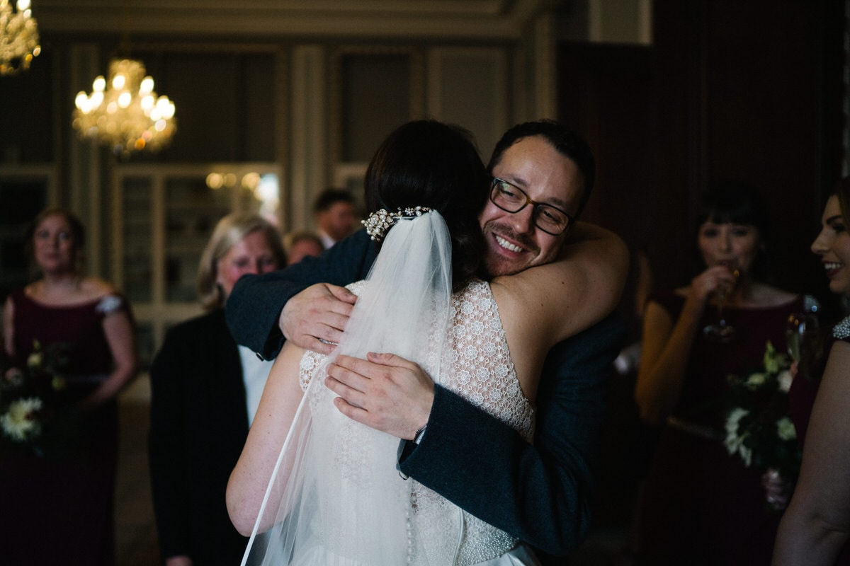 happy hugs at Manchester hall wedding