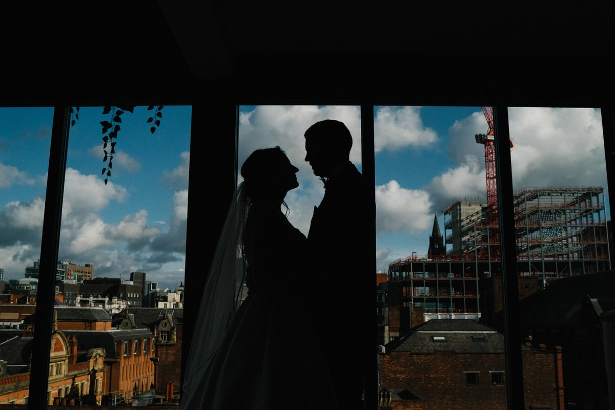silhouette of couple at Manchester hall