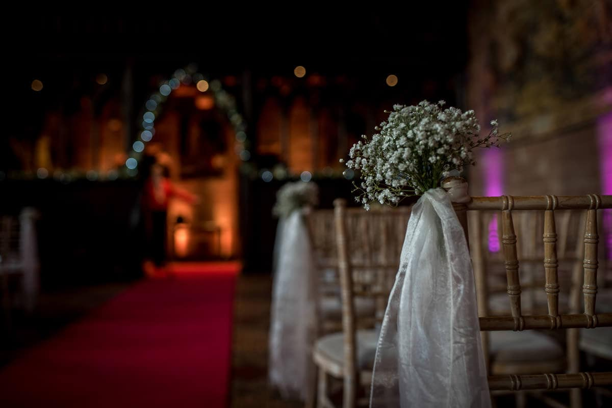 chair decorations at peckforton castle wedding