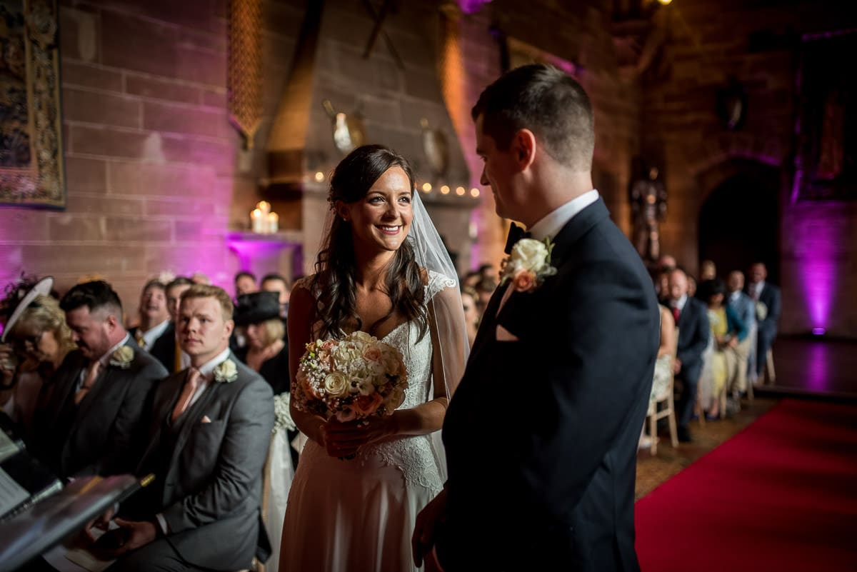 bride and groom at their peckforton castle wedding