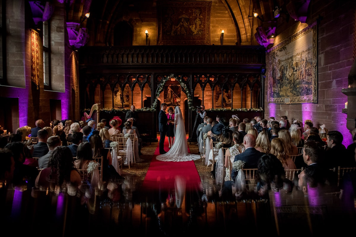 wide angle of peckforton castle wedding