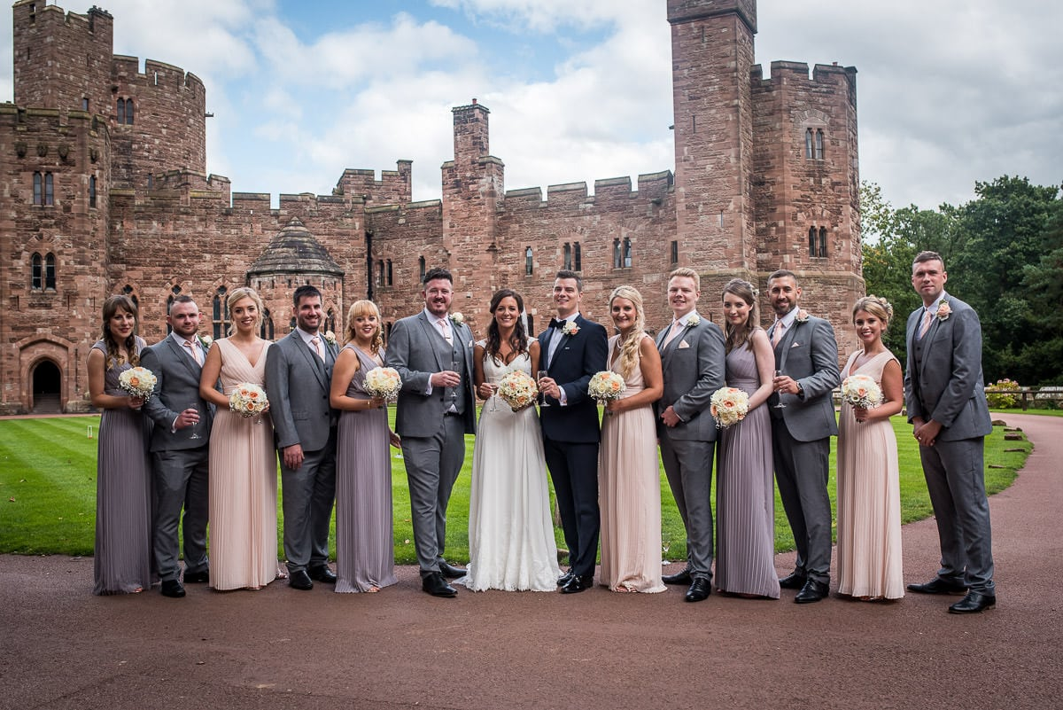 wedding party at peckforton castle