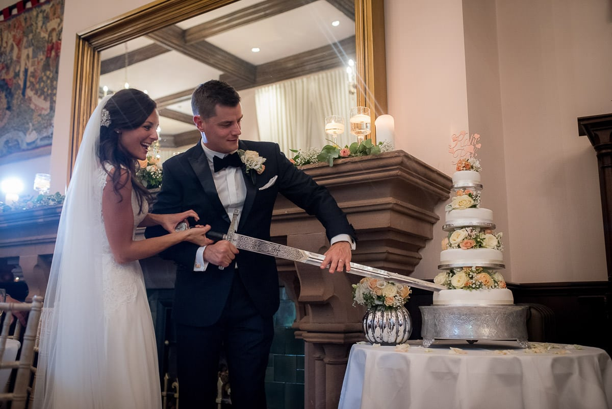 cake cutting at peckforton castle