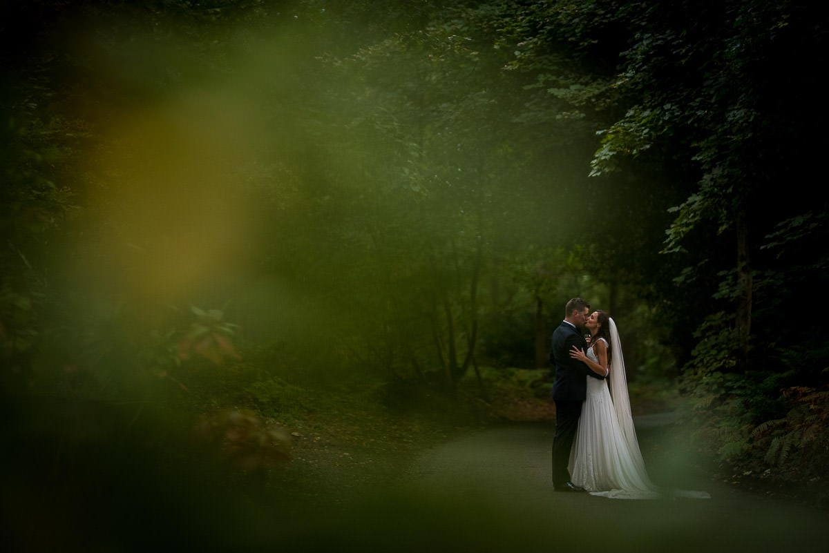 peckforton castle wedding photos in the woods