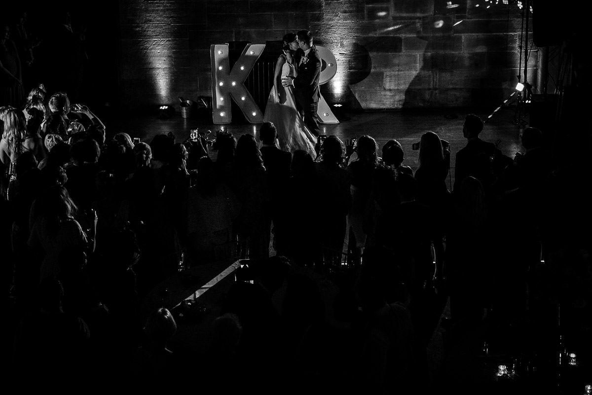 wide angle of first dance at peckforton castle