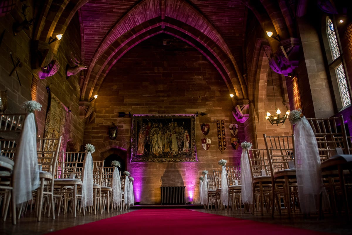 peckforton castle wedding service room