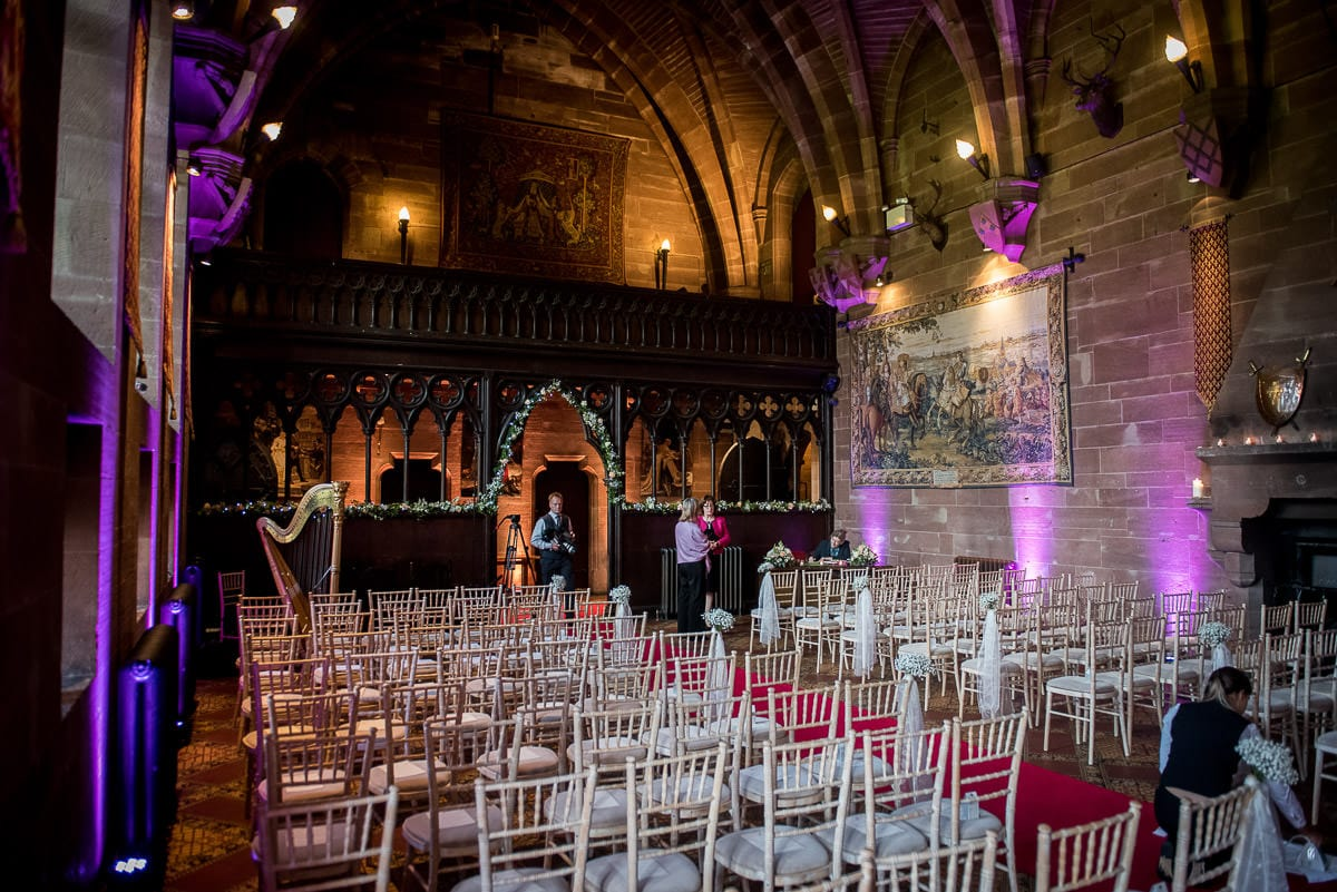 peckforton castle ready for a wedding