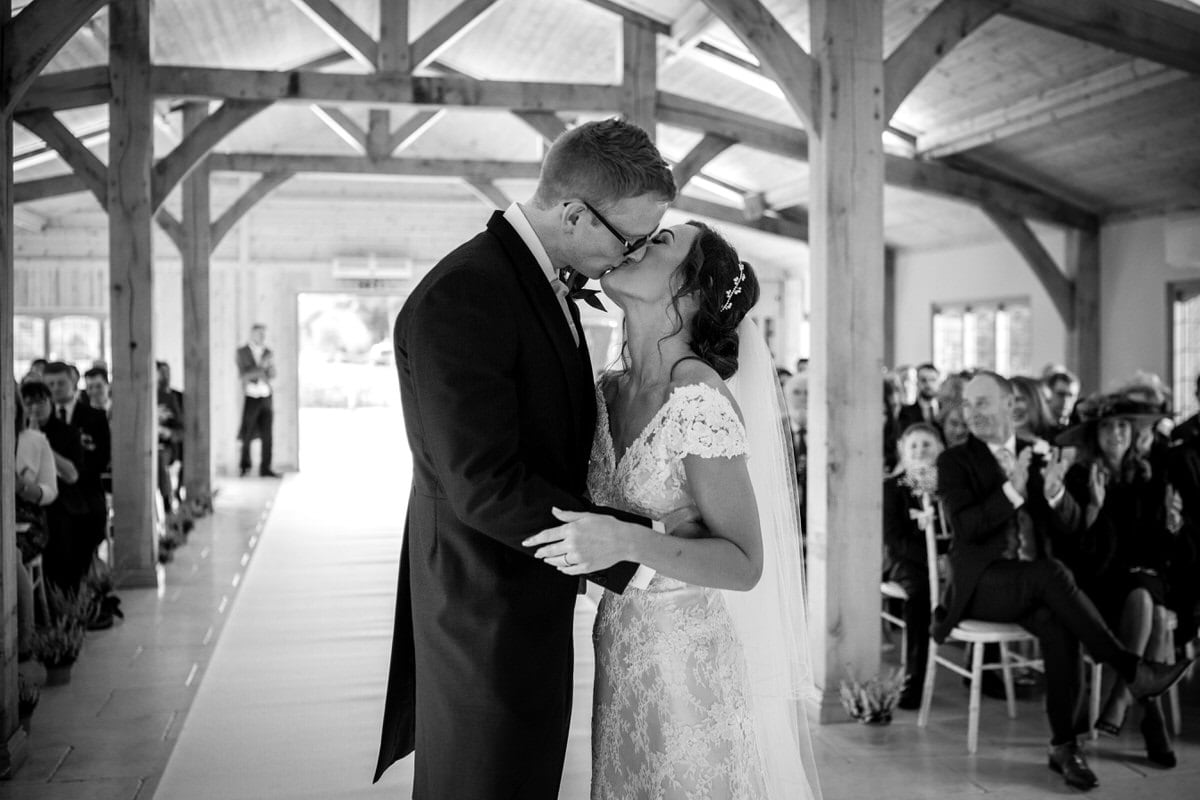 first wedding kiss at colshaw hall
