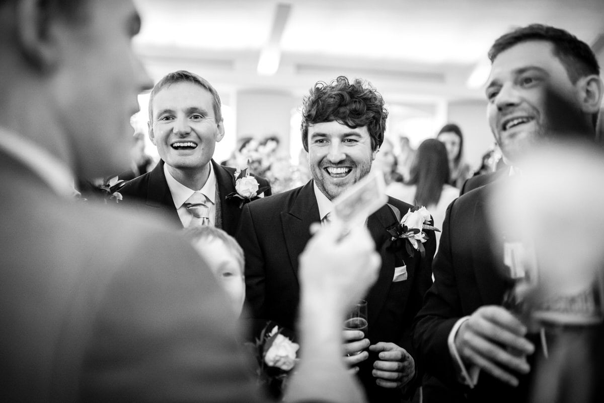 laughing guests at colshaw hall wedding