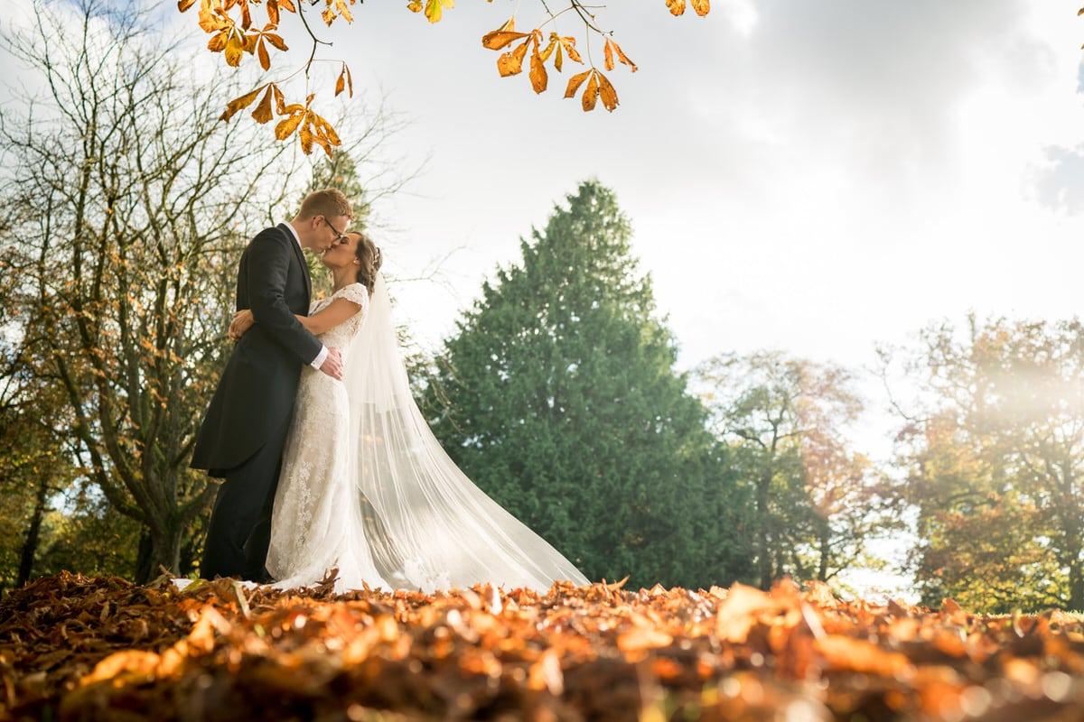 wide angle of wedding couple at colshaw hall