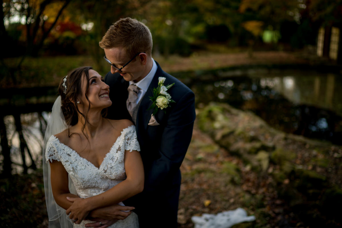 happy couple at colshaw hall gardens