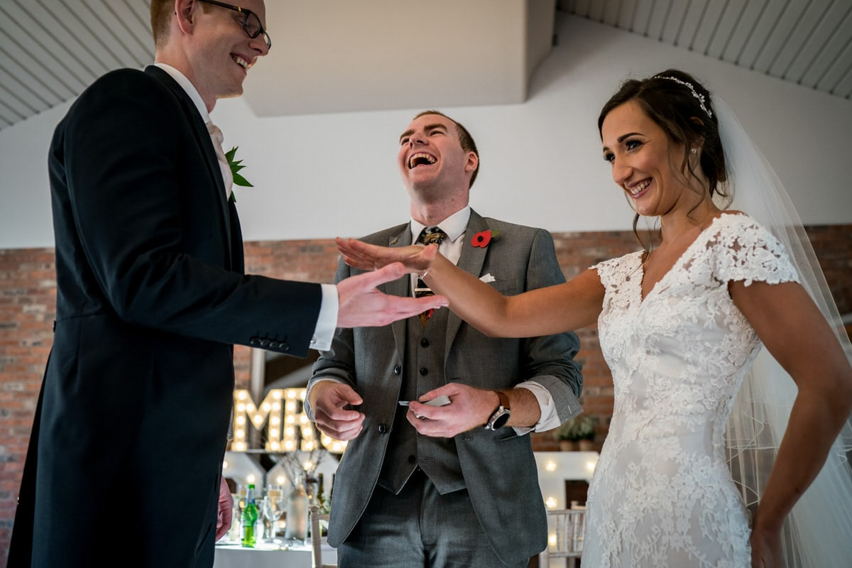 sam fitton entertaining wedding couple