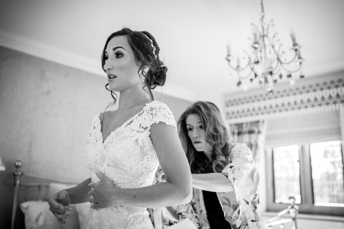 bride in her wedding dress at colshaw hall